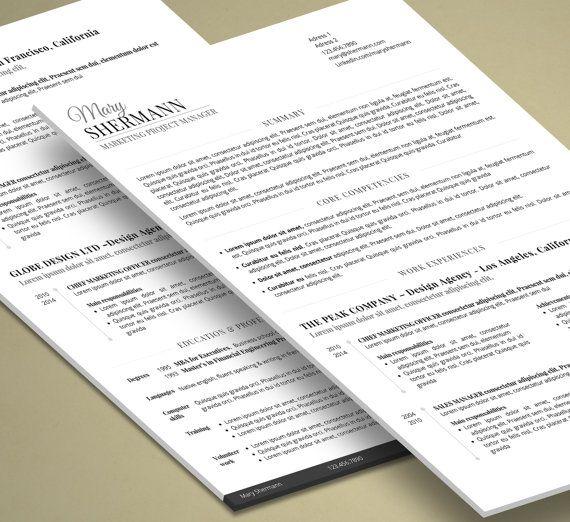 Smart Resume Minimalist Resume  2 Pages Word  Job Hunt  Pinterest  Resume Cv