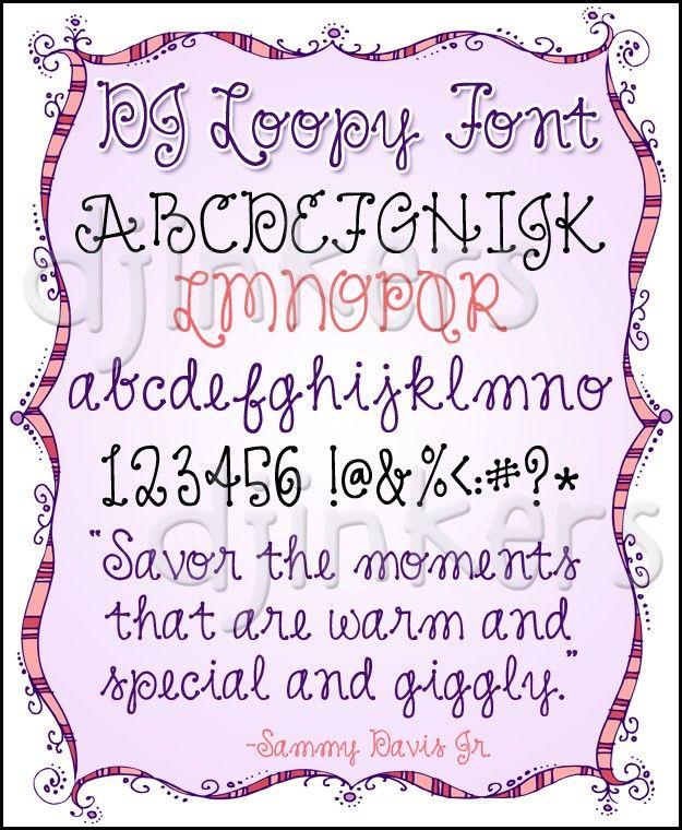 DJ Loopy Font, Cursive Font, Cursive Dot, Cute Font, Cute