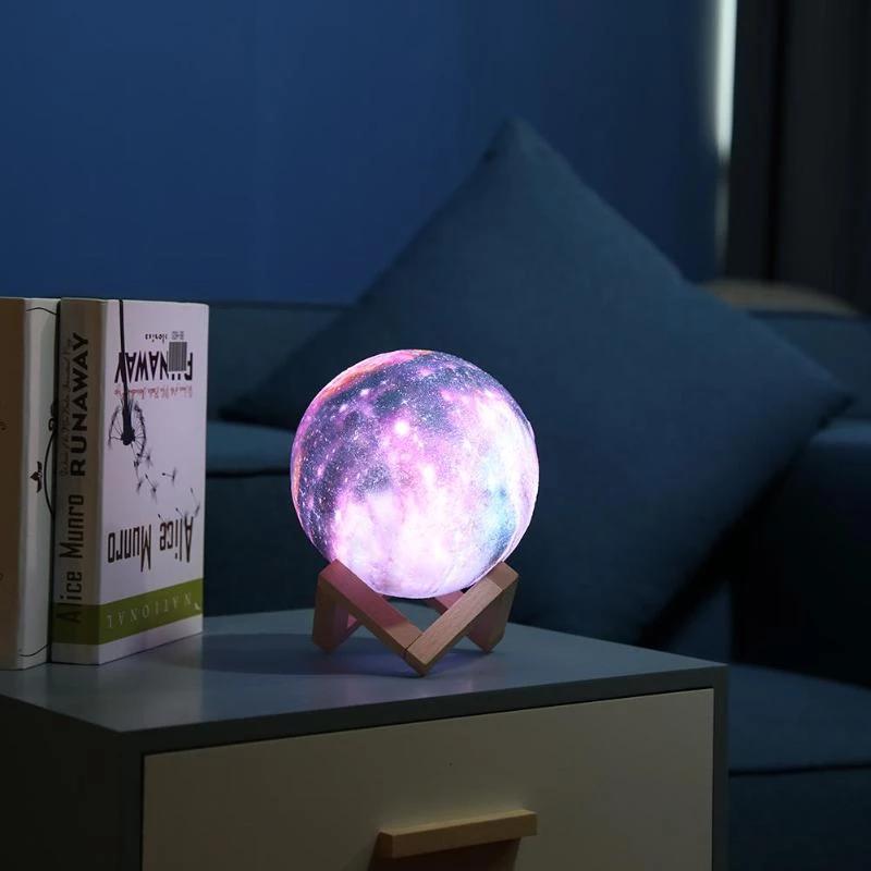 16 Color Galaxy Moon Lamp In 2020 Led Night Light Night Light 3d Star