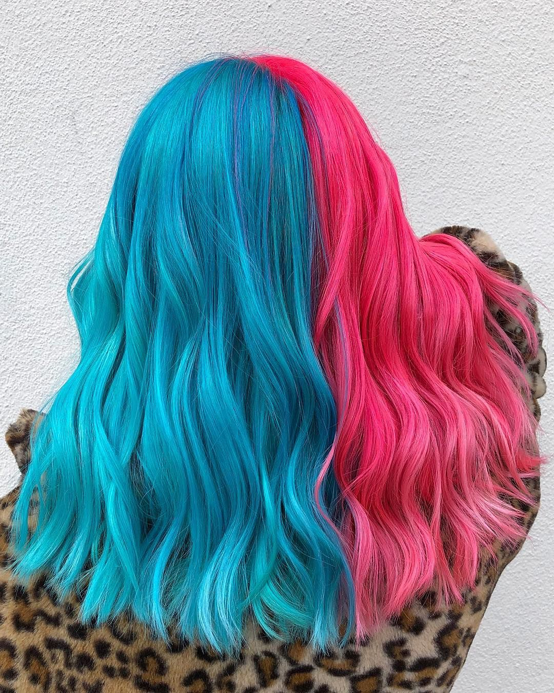 Bambi Balayage Color On Instagram Blue Raspberry Bubblegum Smugbitch Used Pulpriot Neon Elec Two Color Hair Blue And Pink Hair Split Dyed Hair