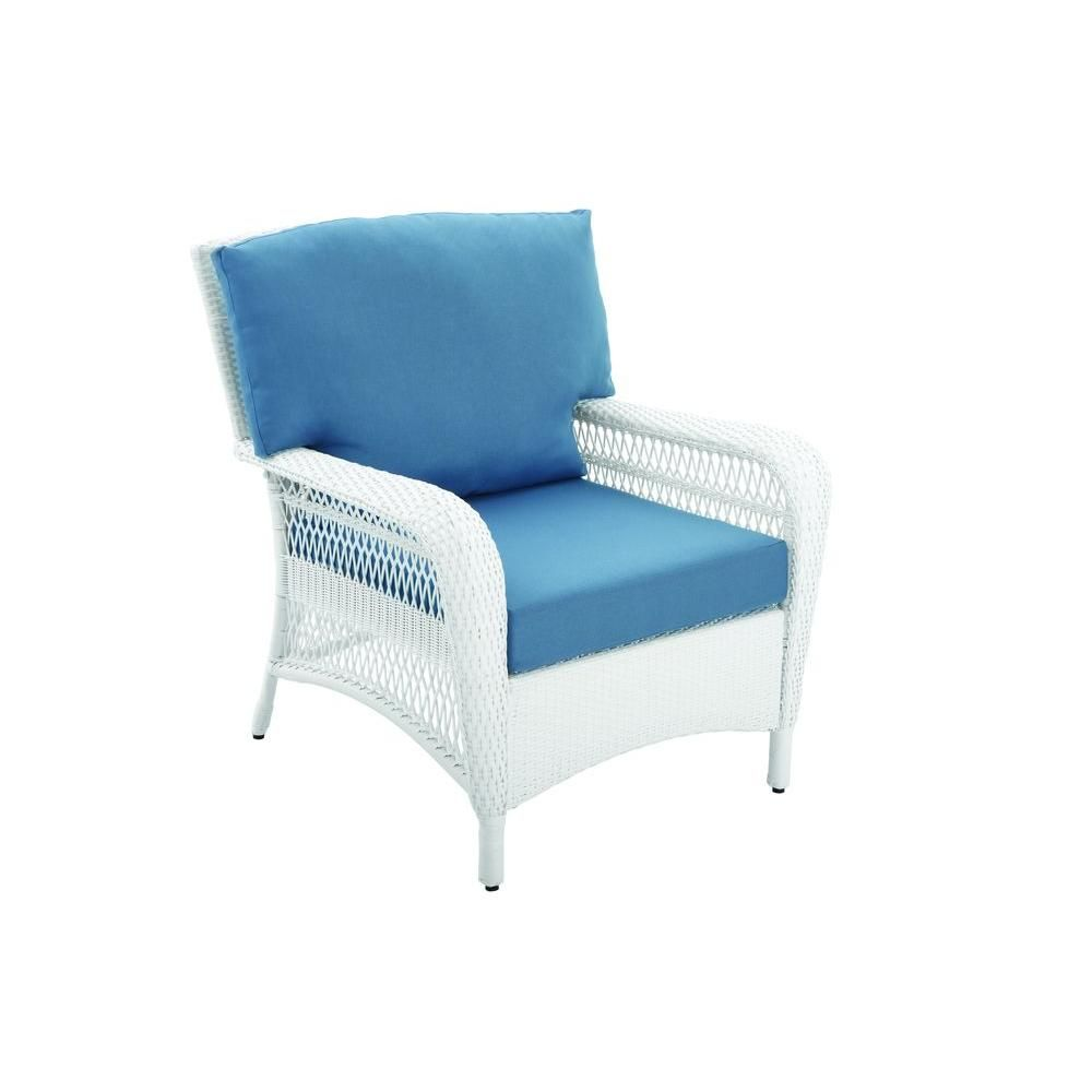 Elegant Martha Stewart Living Charlottetown White All Weather Wicker Patio Lounge  Chair With Washed Blue Cushion