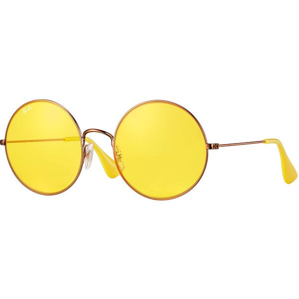 574641c61d6 Ray Ban Round Yellow Classic Sunglasses ( 80) ❤ liked on Polyvore featuring  jewelry and yellow jewelry