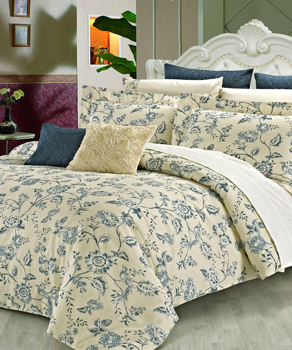 This Pale Yellow & Blue Wedgewood Duvet Cover Set by