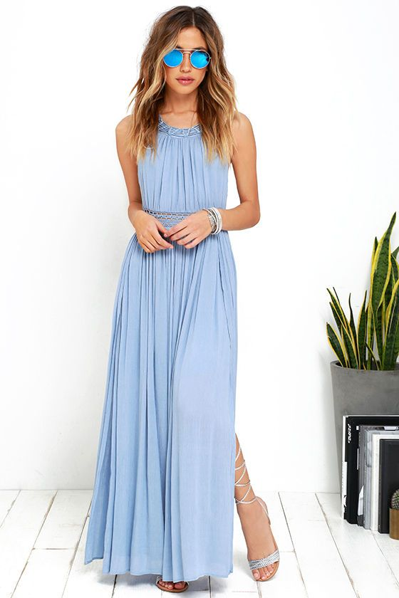 Resort Life Light Blue Lace Maxi Dress Prom Dresses Blue