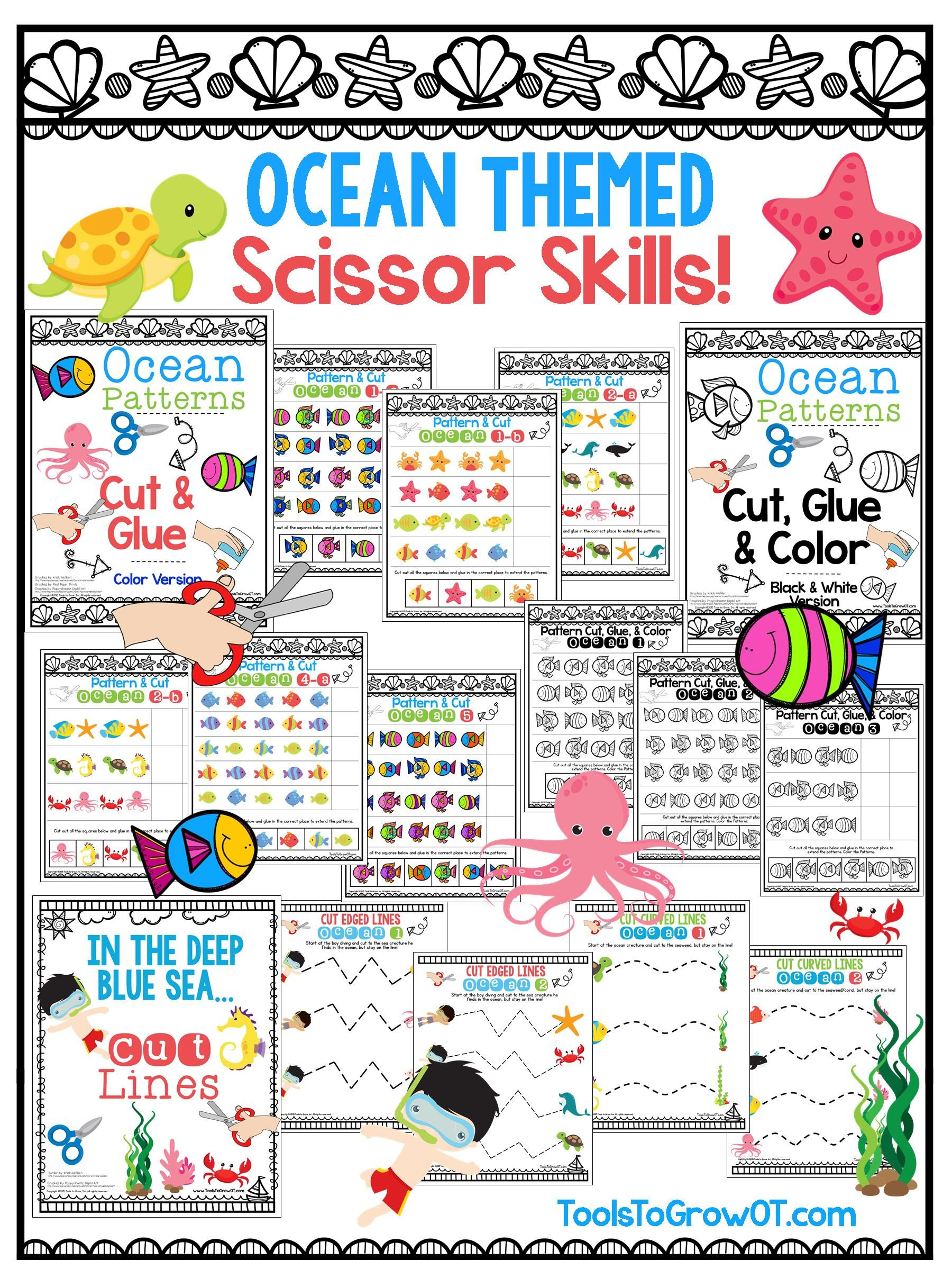 Ocean Fish Themed Scissor Skills Activities Cut Pattern