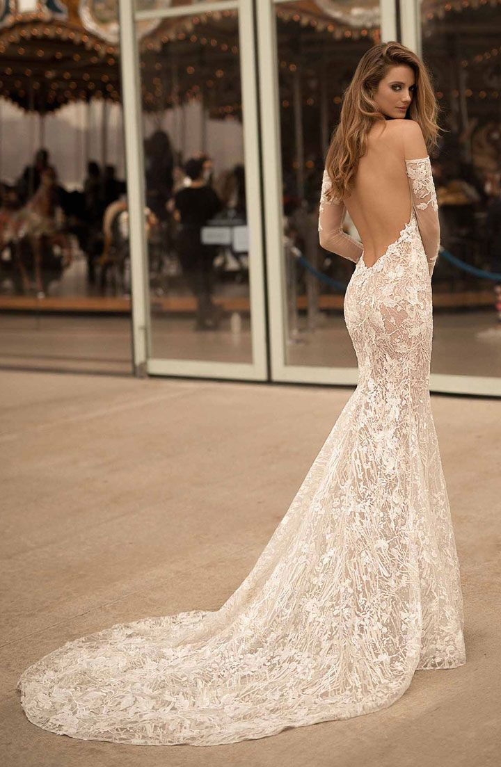 Berta wedding gown open low back medium train with long sleeve and full embellishment sexy elegant fit and flare wedding dress #weddingdress #weddinggown #weddingdresses ,wedding dresses ,wedding gowns