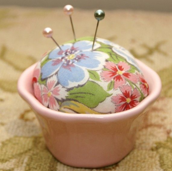 pincushion with vintage handkerchief