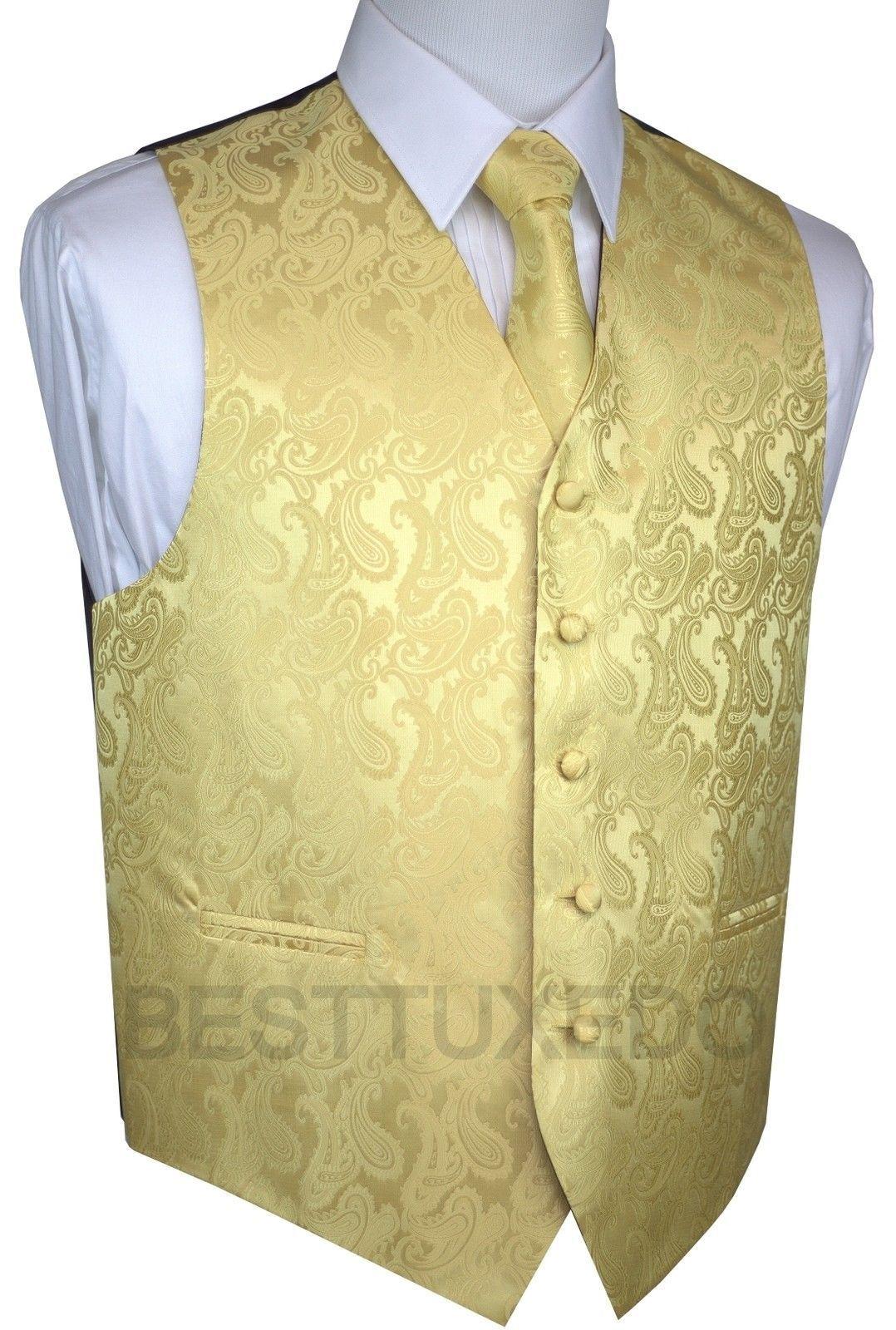 WEDDING MEN/'S CHAMPAGNE PAISLEY FORMAL DRESS TUXEDO VEST PROM