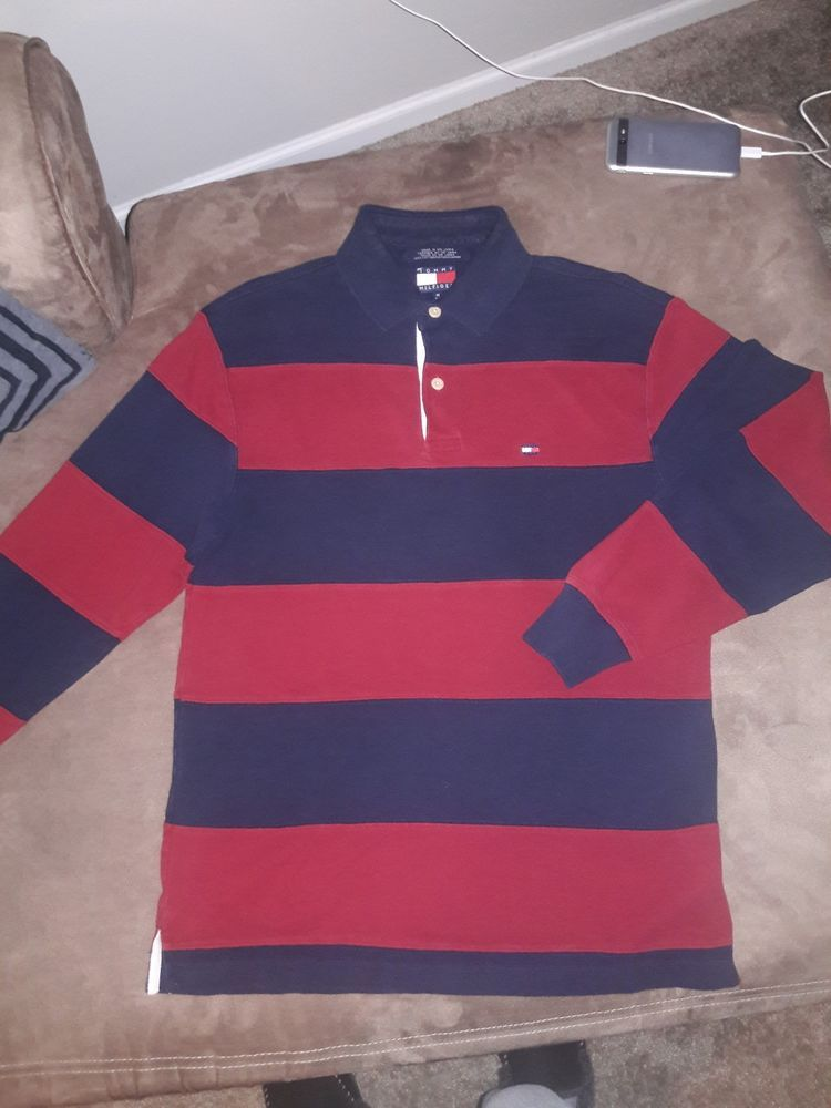 08572507e2d Vintage TOMMY HILFIGER Long Sleeve Striped Rugby Polo Shirt Mens medium  #fashion #clothing #shoes #accessories #mensclothing #shirts (ebay link)
