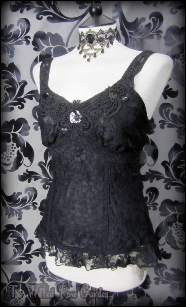 d307a16c0de Elegant Gothic Black Lace Applique Cami Top 10 12 Victorian Vamp Goth  Glamour