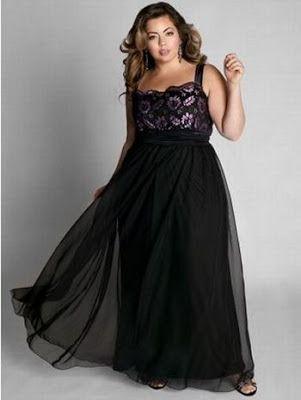 Vestido negro de noche para gorditas