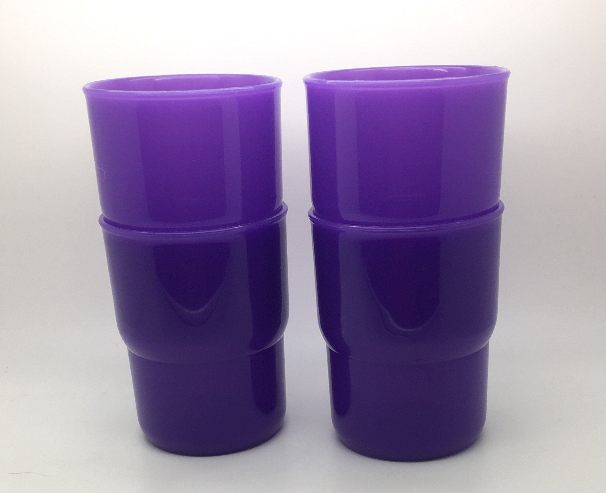 Vintage Tupperware Tumblers 8 Oz G Purple Short Stackable Etsy Vintage Tupperware Tupperware Tumbler