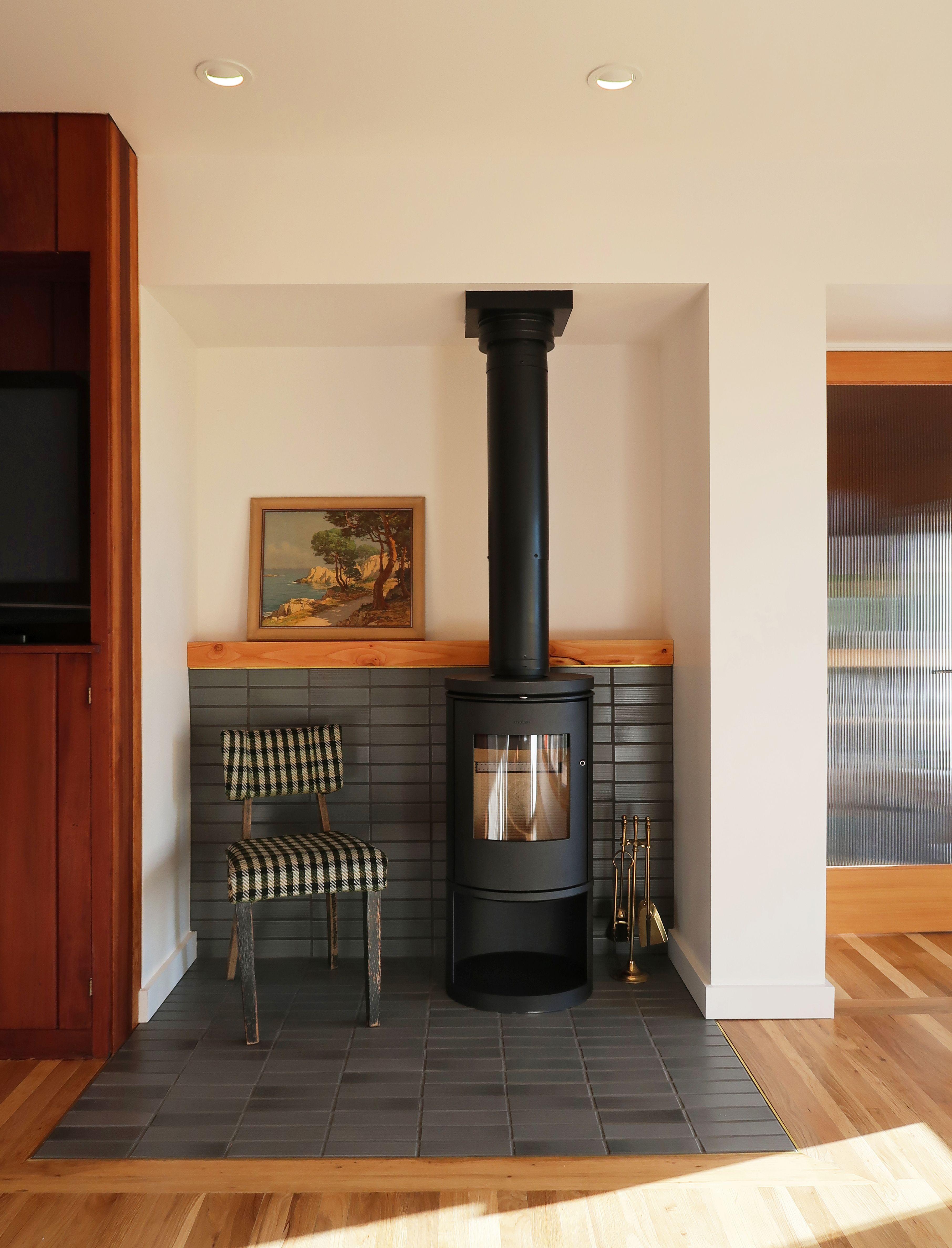 Modern Inglenook Pratt Larson Brownstone Tile Modern Wood Stove Morso Plaid Chair Modern Wood Burning Stoves Wood Burning Stoves Living Room Wood Stove