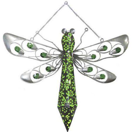Good Amazon.com : Garden Meadow R1374G Solar Hanging Firelight Dragonfly Yard  Art With Green Light