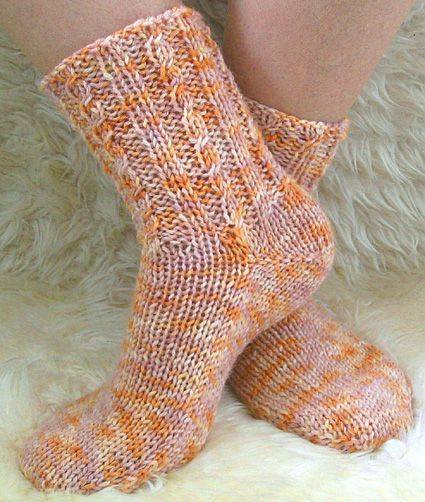Knit With Round Needles : Two needle socks for those that fear dpn or circular