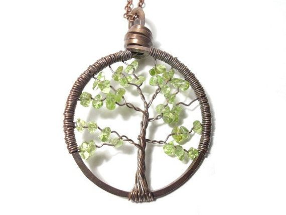 Tree of Life Antiqued Copper Necklace in Peridot Copper necklace