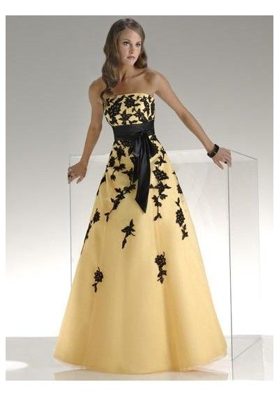 Black and yellow dresses formal wear