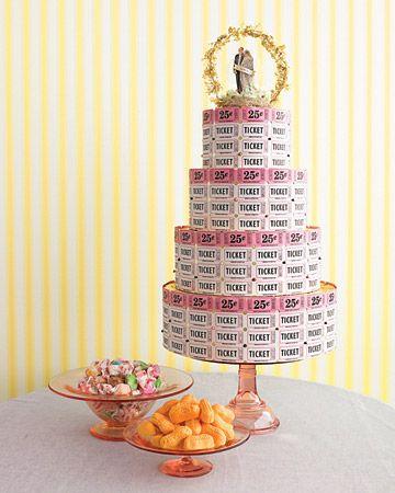 raffle ticked wedding cake - how fun!