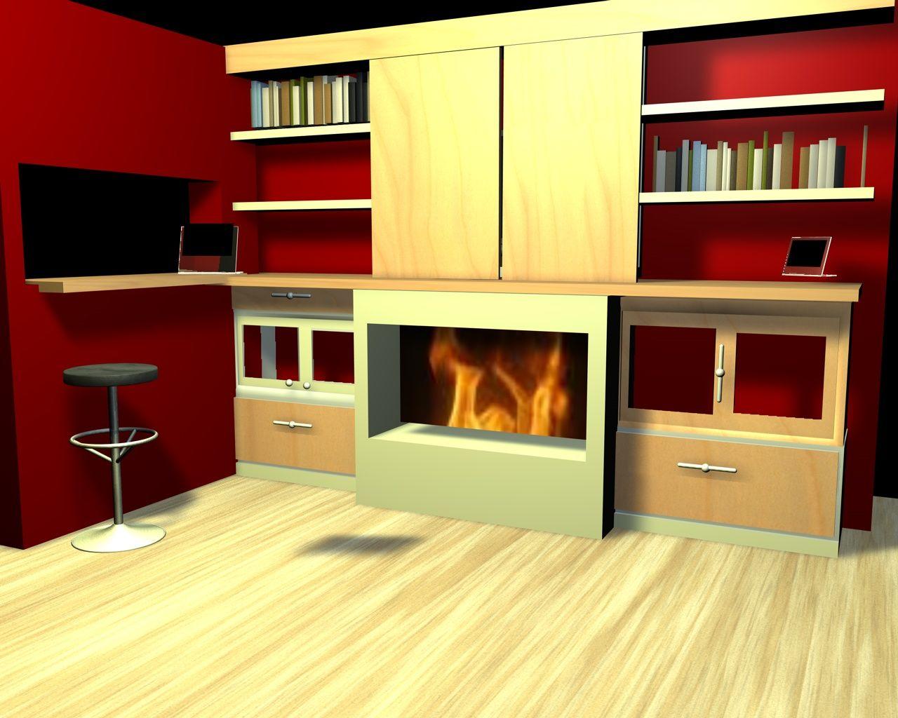 Diseño De Mueble Para Salon Con Chimenea Y Television Escondida