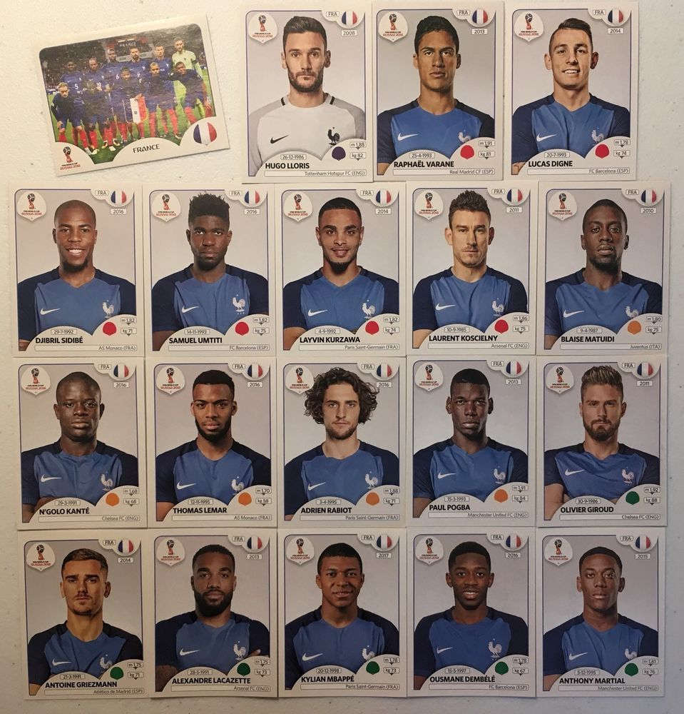 France Panini Fifa World Cup Russia 2018 Team Set 19 Stickers Lot Ebay World Cup Russia 2018 Fifa World Cup Russia World Cup