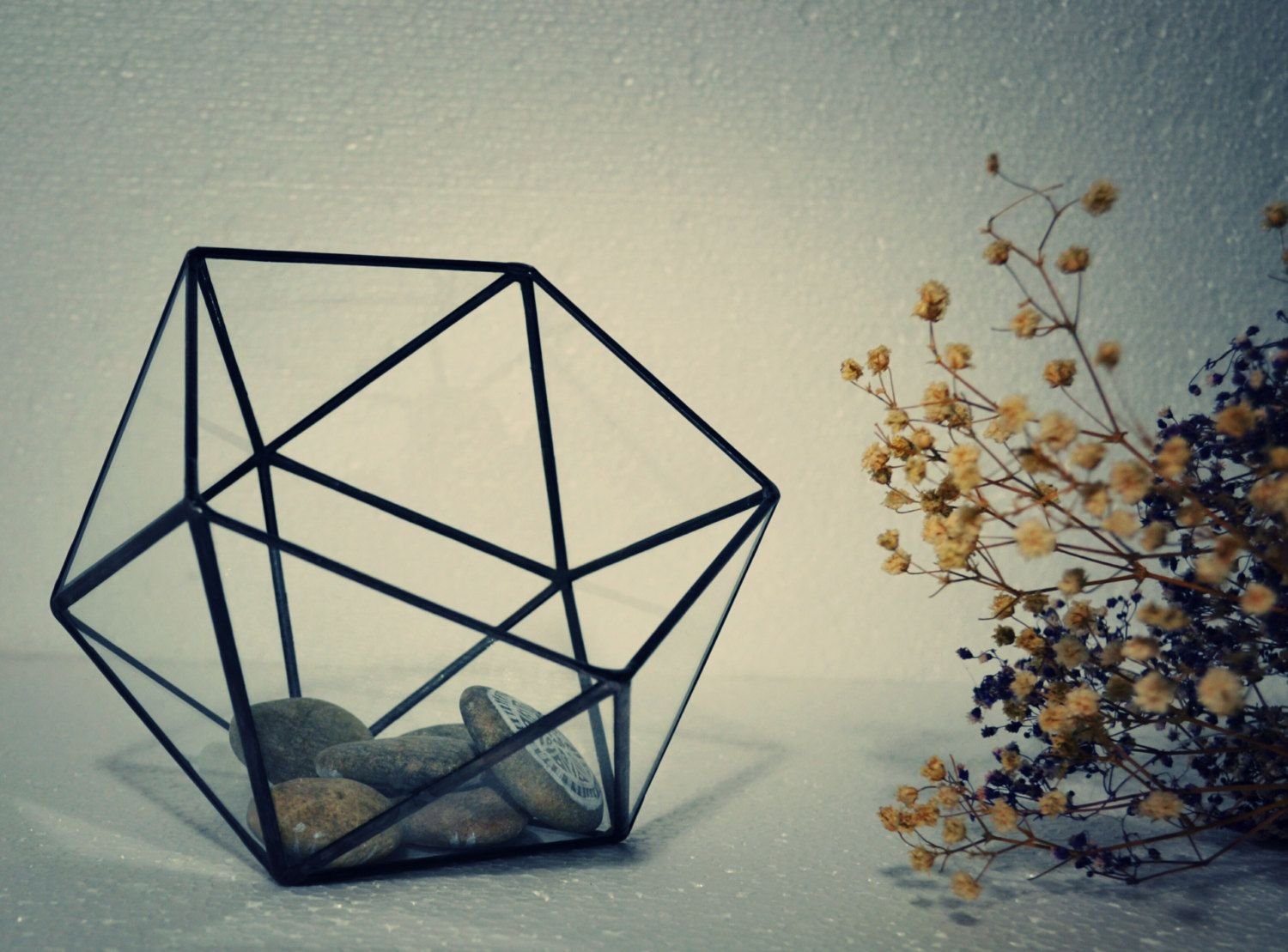 Small icosahedron terrarium stained glass vase planter for for Indoor gardening glasses