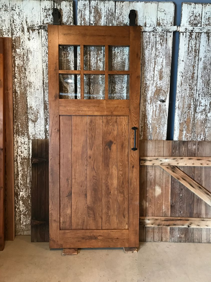 Nice Reclaimed Oak Barn Door With Glass   Furniture From The Barn