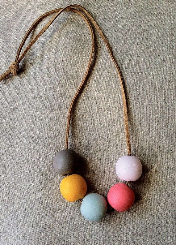 Modern Geometric Wood Bead Necklace by thislovesthat on Etsy, $16.00