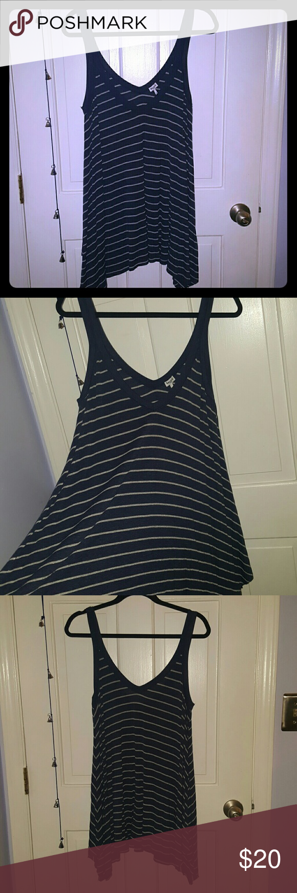 Splendid handkerchief tank top Blue and white (with silver thread) tank top. Very comfortable and fashionable. Great condition. Offers accepted. Splendid Tops Tank Tops