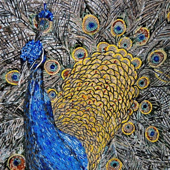 Stunning Peacock Mosaic Colorful Marble Stones Tile Mural Wall Art for Indoor and Outdoor Decoration - MA413