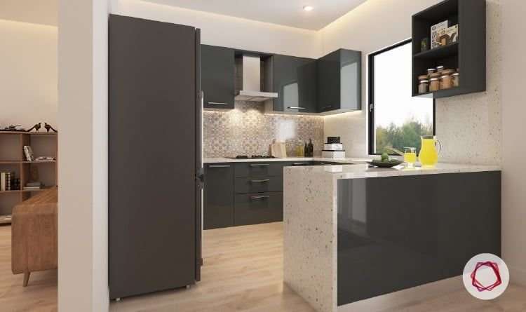 12 Grey Kitchens That Are Drop Dead Gorgeous Indian Style Kitchen Design Kitchen Design Open L Shaped Kitchen Designs