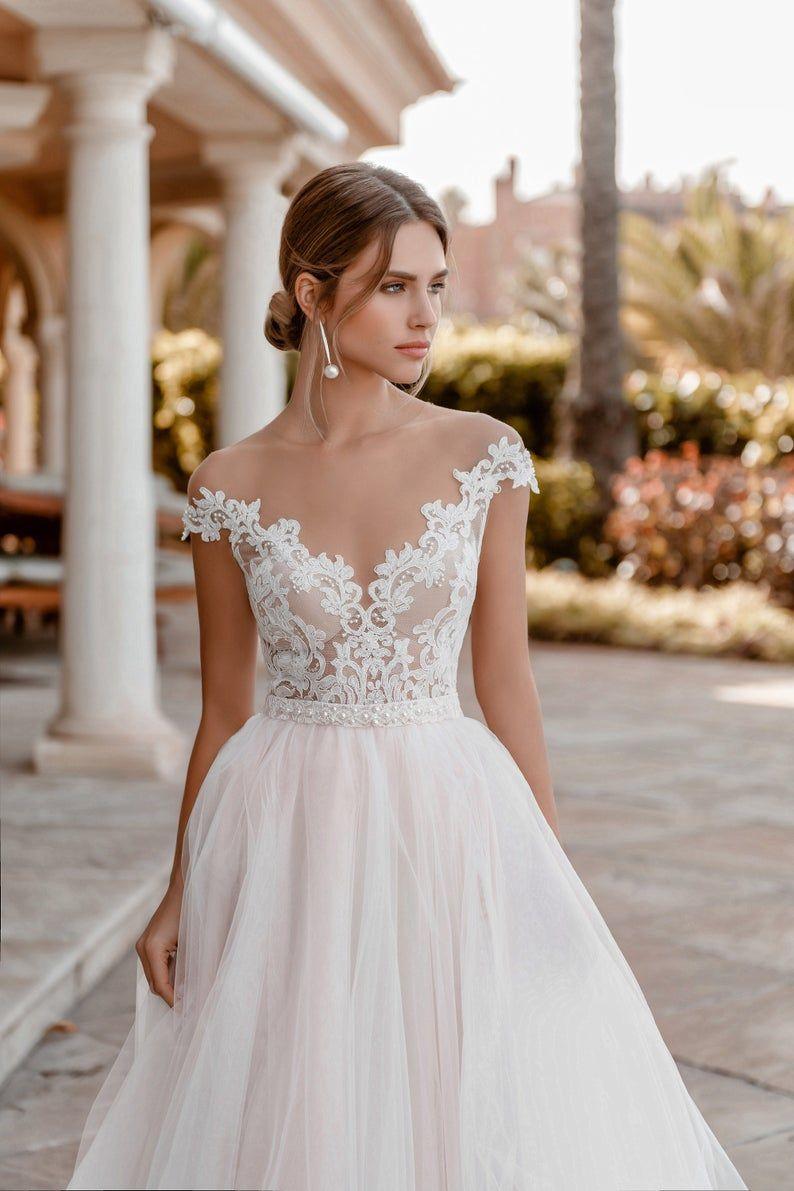 Individual Size Wedding Dresses Beaded Boho Wedding Dress Lace Short Wedding Dress [ 1191 x 794 Pixel ]