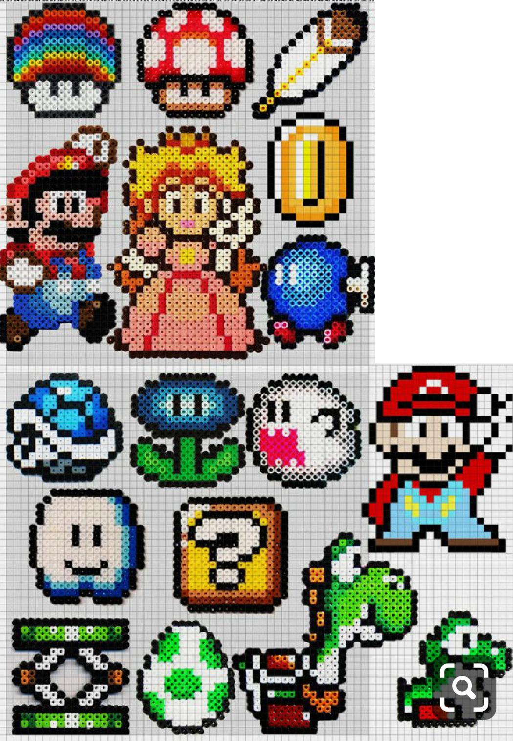 Un Anniversaire Mario Bross La Fee Biscotte Perle Hama Mario Art Perle Perles Fondues