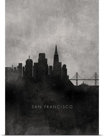 Black and White Minimalist San Francisco Skyline. For City Editions. Create city sky lines for the cover using blocks of colour.