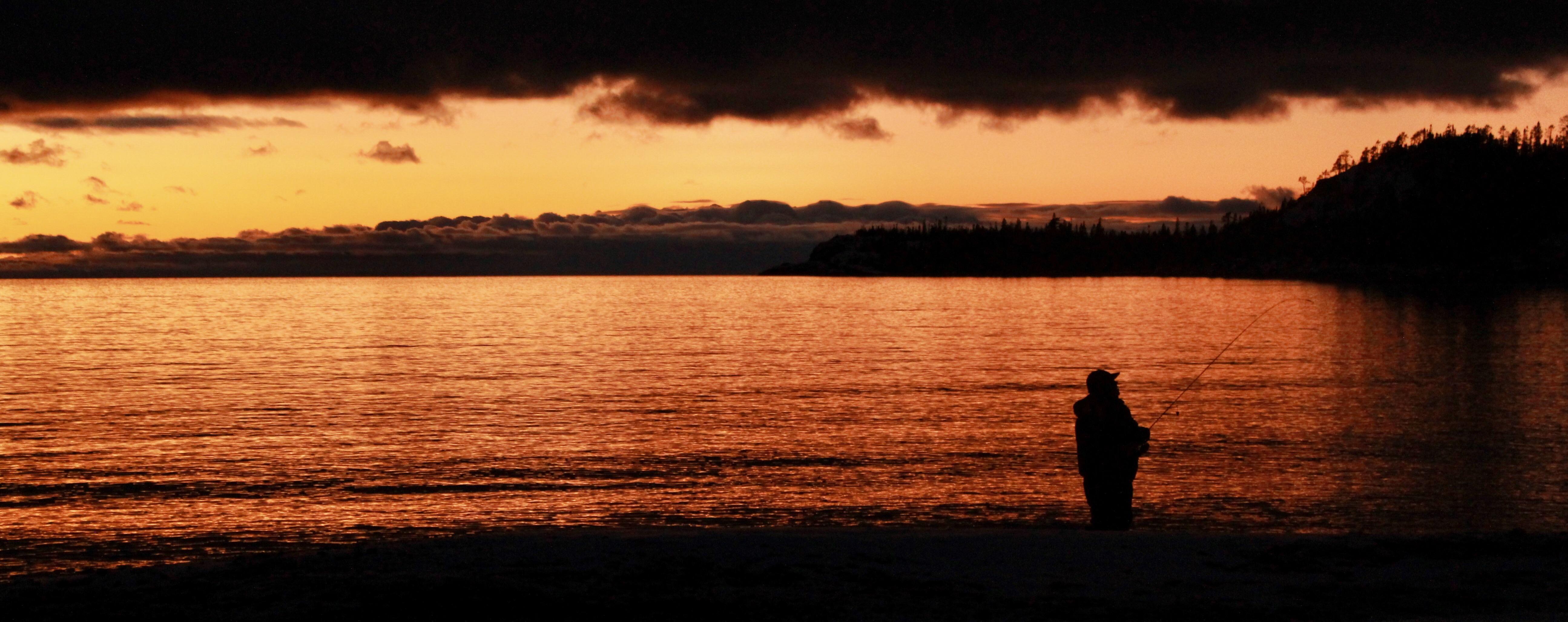 My Girlfriend Got This Sweet Shot Of A Man Fishing In Old Woman Bay Lake Superior Provincial Park January Grand Canyon Camping Bay Lake