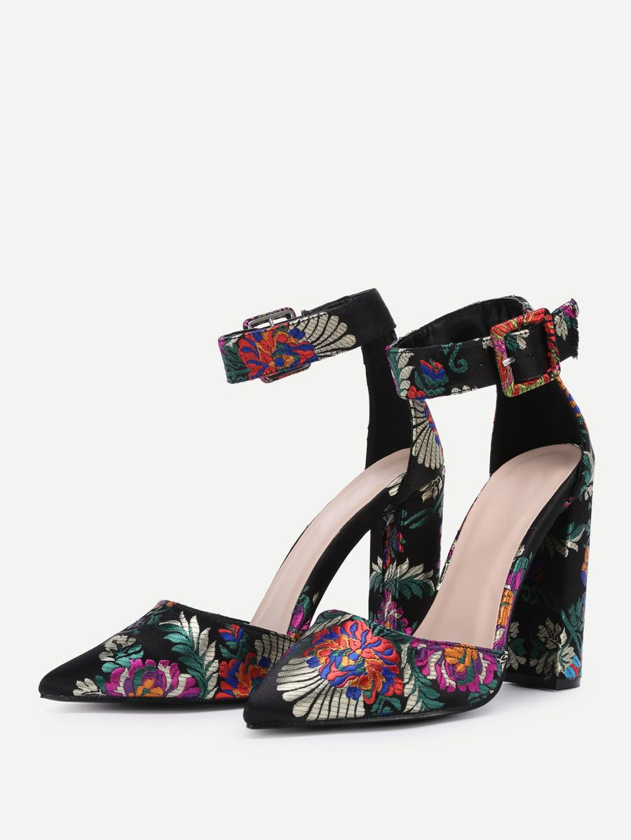 30e0c258bb Flower Embroidery Pointed Toe Block Heels -SheIn(Sheinside ...
