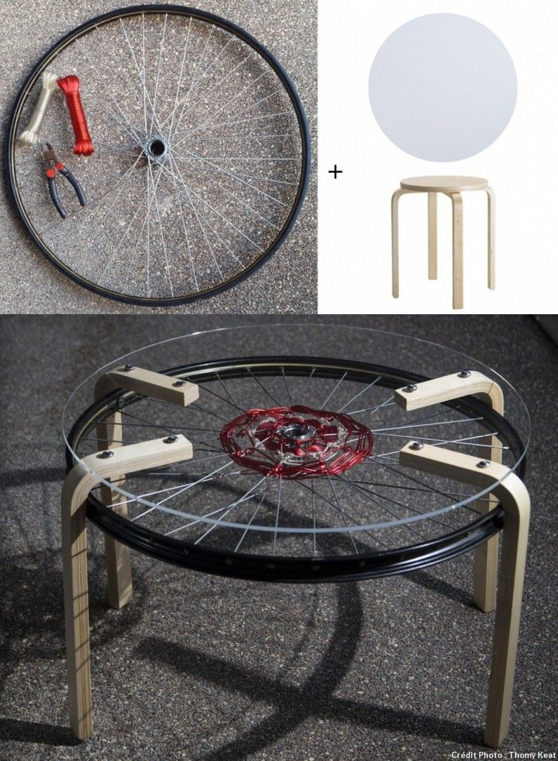 Creativa mesa con rueda de bicicleta ruedas de bicicleta for Mesa con ruedas ikea