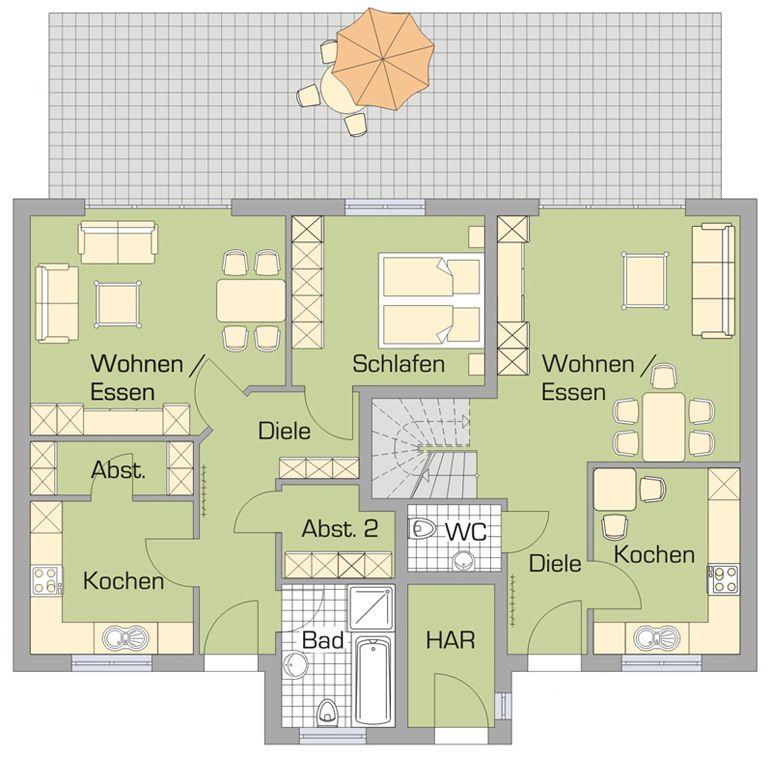 Grand 187 erdgeschoss haus und grundriss pinterest for Zweifamilienhaus plan