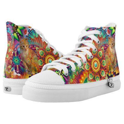 2e8fc8d5177871 Psychedelic Cat Shoe Tie Dye Cat High-Top Sneakers - cat cats kitten kitty  pet love pussy