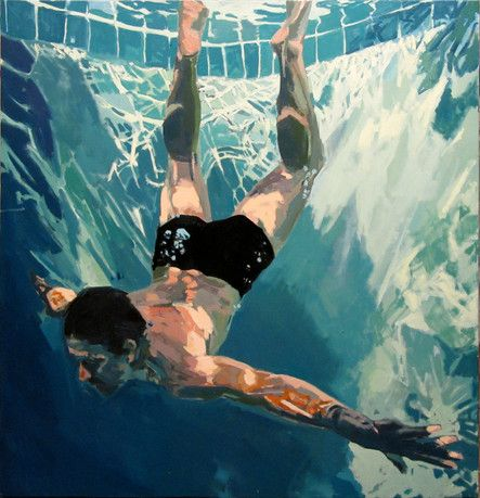 samantha french painting. love the way the light hits the walls of the pool
