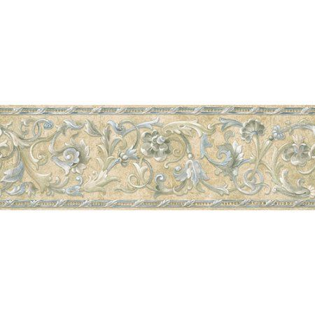 Blue Mountain Floral Scroll Wallpaper Border, StoneLike