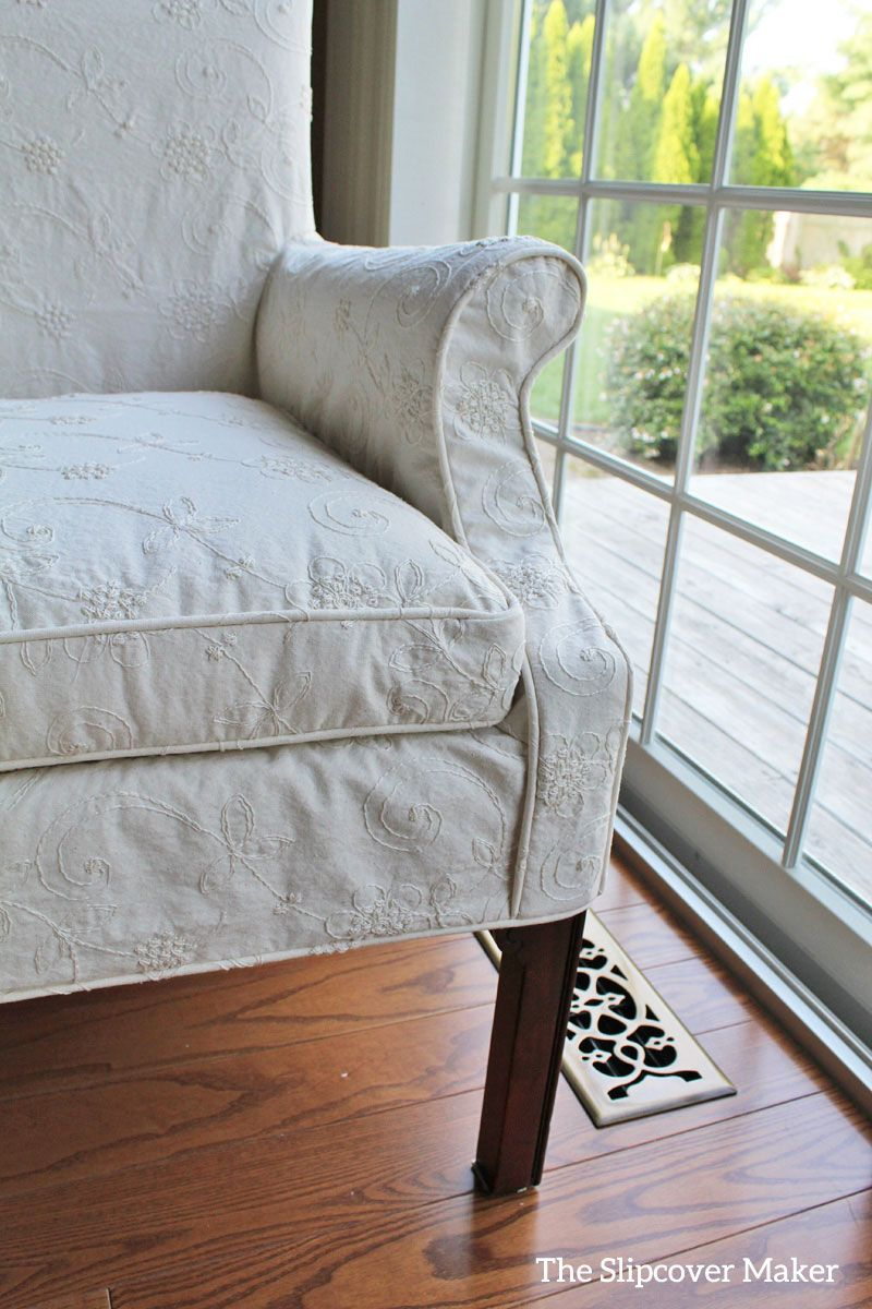 Custom Dining Room Chair Slipcover In Embroided Muslin. Fabric: Waverly  Candlewicking Classic Natural. Part 60