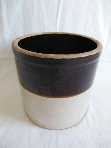 Vintage Stoneware Crock Gallon Two Tone Brown Tan 7 1 4 Stoneware Crocks Stoneware Antique Ceramics