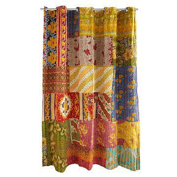 Kantha Shower Curtain Recycled Sari Handmade Kantha Eclectic