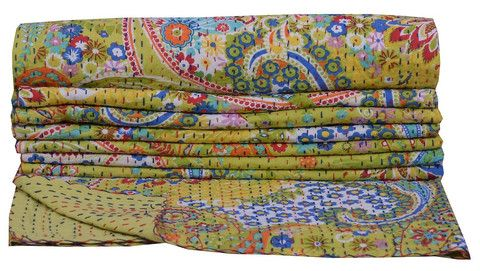Kantha Throw-Apple Green - Clever Girl