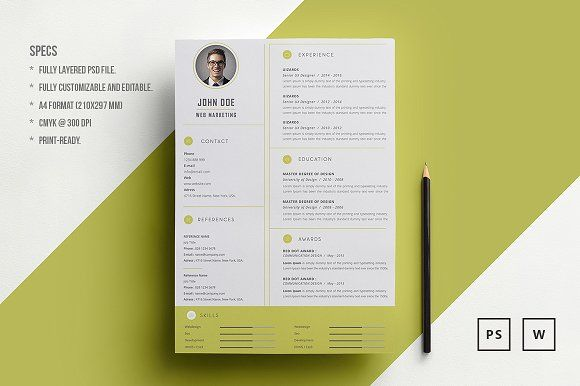 resumecv john doe by piksell on graphicsauthor