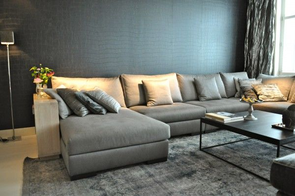grijze hoekbank bij interiors dmf in zeist fotografie. Black Bedroom Furniture Sets. Home Design Ideas
