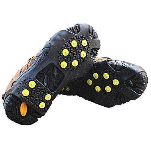 f9fe179aff5 Ice Grips EONPOW Ice Snow Grips Cleat Over ShoeBoot Traction Cleat Rubber  Spikes Anti Slip 10 Steel Studs Crampons Slipon Stretch Footwear Size S    Click ...
