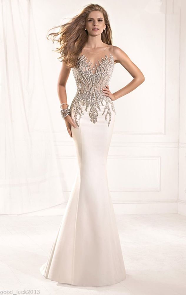 Gorgeous Pearl Stone Mermaid Prom Dress Formal Gown Pageant Evening Dresses a9e25b0f5c68
