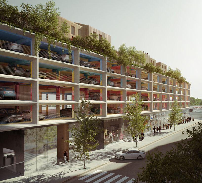 Brisac Gonzalez Integrates Rooftop Housing With Carpark In Bordeaux Parking Design Car Park Design Parking Building