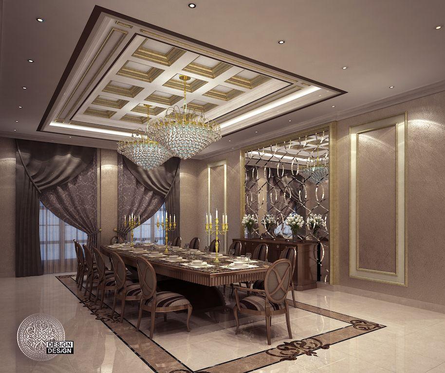 Private Villa Of Mr Abdullah Al Jamea House Ceiling Design Luxury Dining Room Mansion Interior